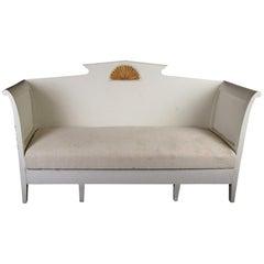 Gustavian Settle Sofa under Seat Storage Later White Paint, 19th Century
