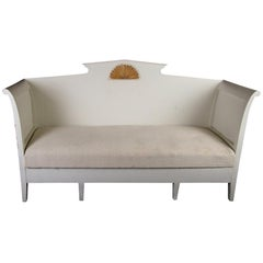 Gustavian Settle Sofa Underseat Storage Later White Paint 19th Century