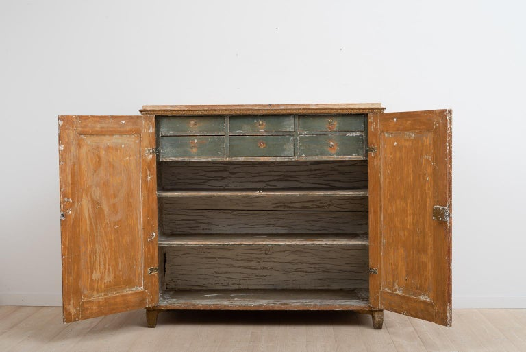 Hand-Painted Gustavian Sideboard with Rustic Patina Manufactured, 1790 For Sale
