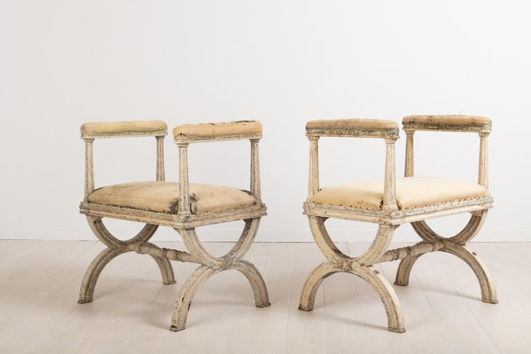 Swedish Gustavian Stools by Ephraim Ståhl Manufactured in Stockholm For Sale