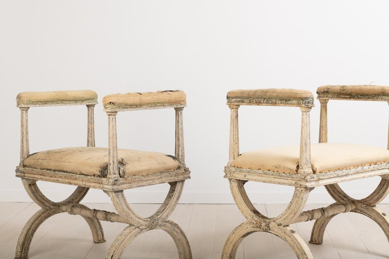 Hand-Crafted Gustavian Stools by Ephraim Ståhl Manufactured in Stockholm For Sale