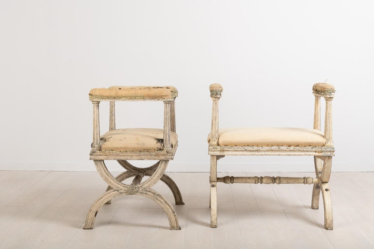 Gustavian Stools by Ephraim Ståhl Manufactured in Stockholm In Good Condition For Sale In Kramfors, SE
