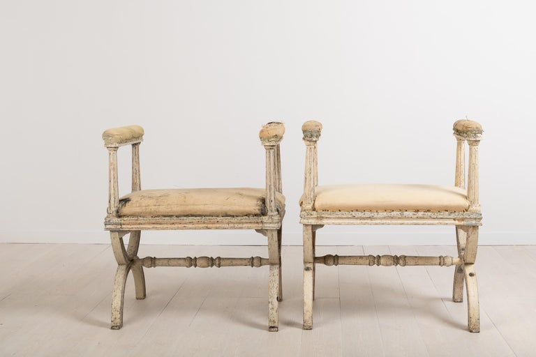 19th Century Gustavian Stools by Ephraim Ståhl Manufactured in Stockholm For Sale