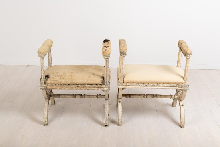 Pine Gustavian Stools by Ephraim Ståhl Manufactured in Stockholm For Sale