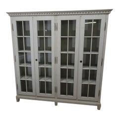 Gustavian Style 4-Door Glass Cabinet