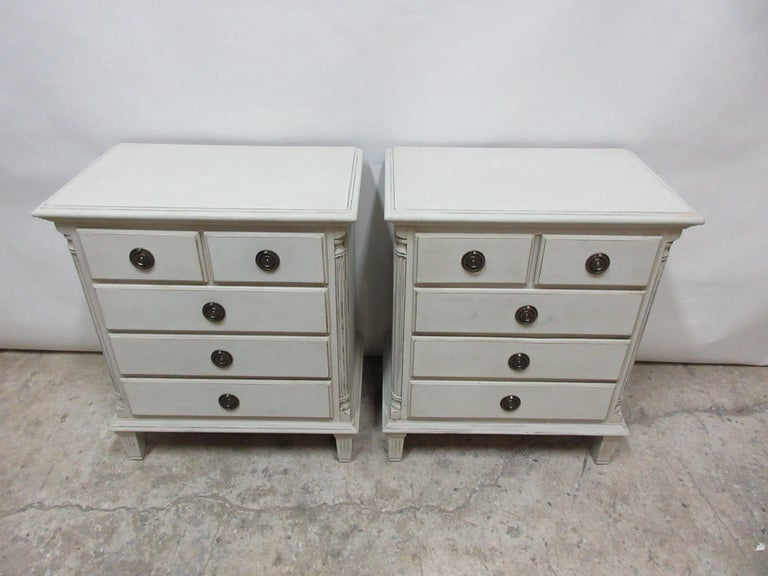 This is a set of 2 Gustavian style 5-drawer nightstands. They have been restored and repainted with milk paints