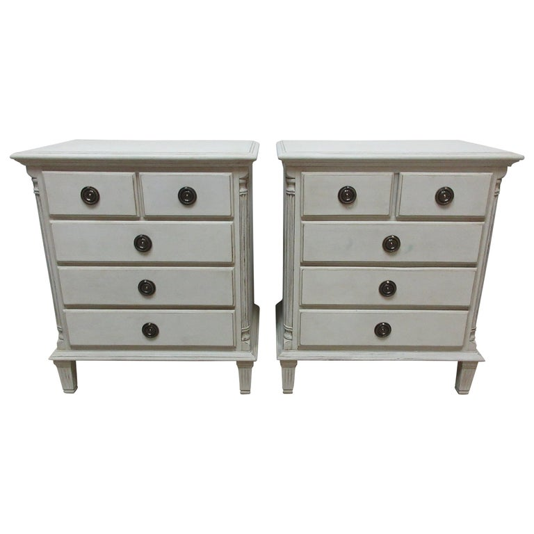 Gustavian Style 5-Drawer Nightstands For Sale