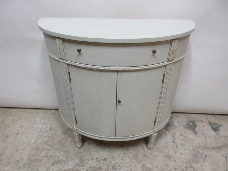 This is a Gustavian style barrel console, its been restored and repainted with Milk Paints