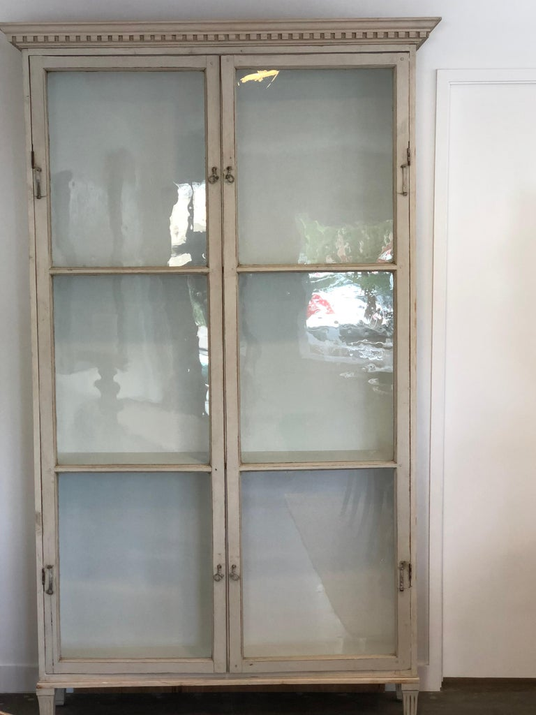 Swedish Gustavian Style Cabinet with Antique Glass Doors For Sale - Gustavian Style Cabinet With Antique Glass Doors For Sale At 1stdibs