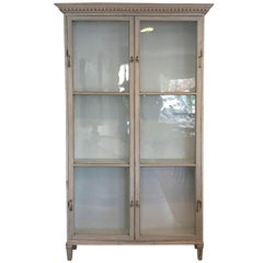 Gustavian Style Cabinet with Antique Glass Doors