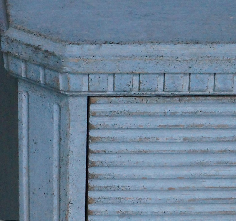 Hand-Carved Gustavian Style Chest of Drawers in Blue Paint For Sale