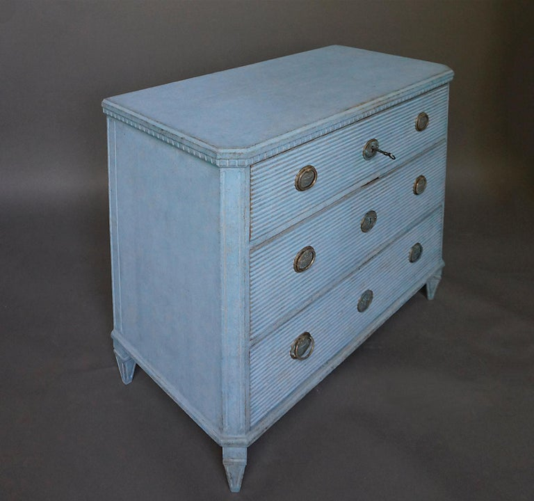 19th Century Gustavian Style Chest of Drawers in Blue Paint For Sale