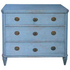 Gustavian Style Chest of Drawers in Blue Paint