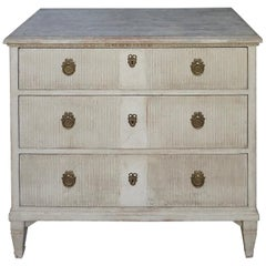 Gustavian Style Chest of Drawers with Vertical Reeding