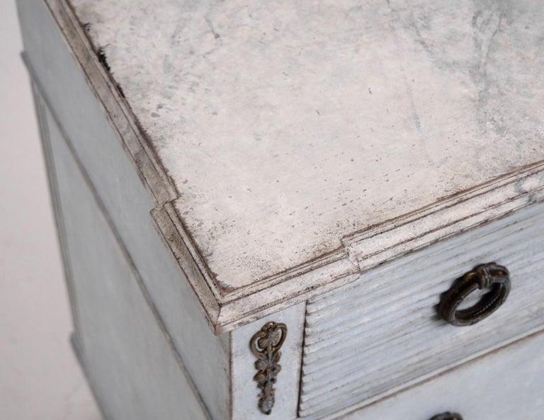 Wood Gustavian Style Chest with Carvings, 19th Century For Sale