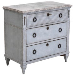Gustavian Style Chest with Carvings, 19th Century