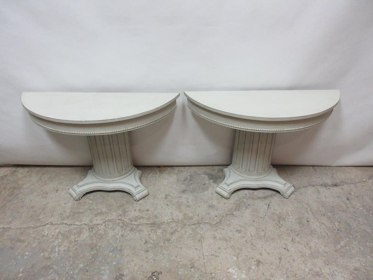 Swedish Gustavian Style Column Console Tables For Sale