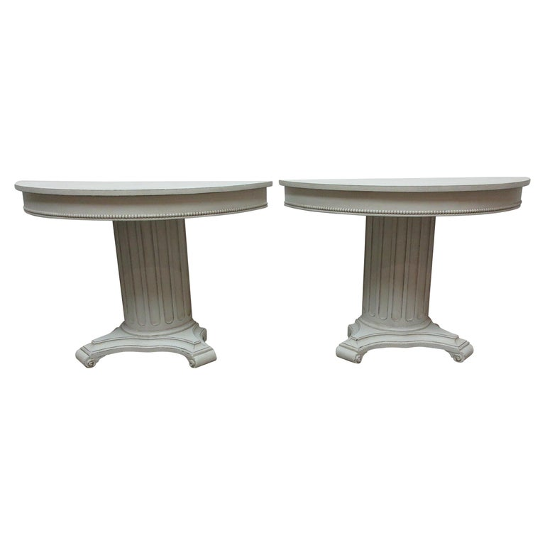 Gustavian Style Column Console Tables For Sale