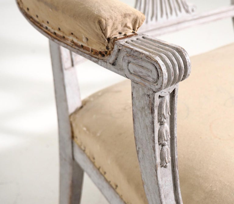 19th Century Gustavian style freestanding bench, 19th C. For Sale