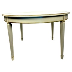 Gustavian Style Ivory Painted Swedish Dining Table with Gilt Trim