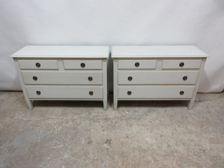 This is a set of 2 Gustavian style matching chests, they have been restored and repainted with Milk Paints