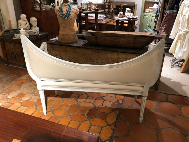Gustavian Style Painted and Upholstered Loveseat Settee For Sale 1