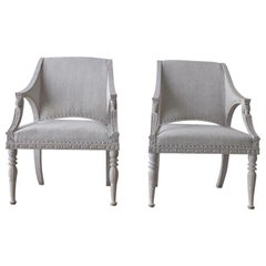 Gustavian Style Painted Armchairs with Sphinx Heads