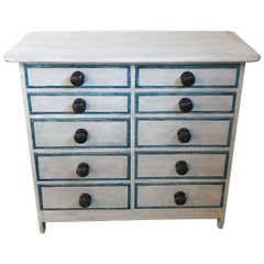 Gustavian Style Painted Chest or Commode with 10 Drawers