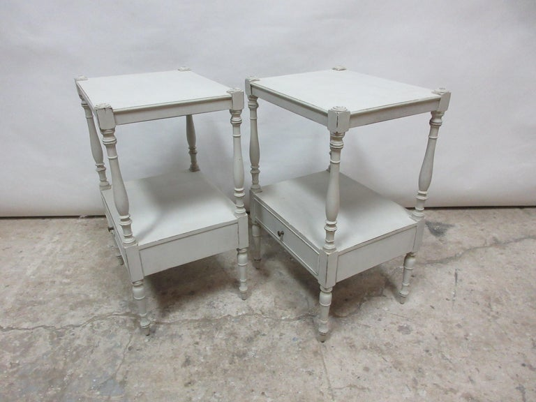 This is a set of 2 Gustavian style side tables, they have been restored and repainted with milk paints