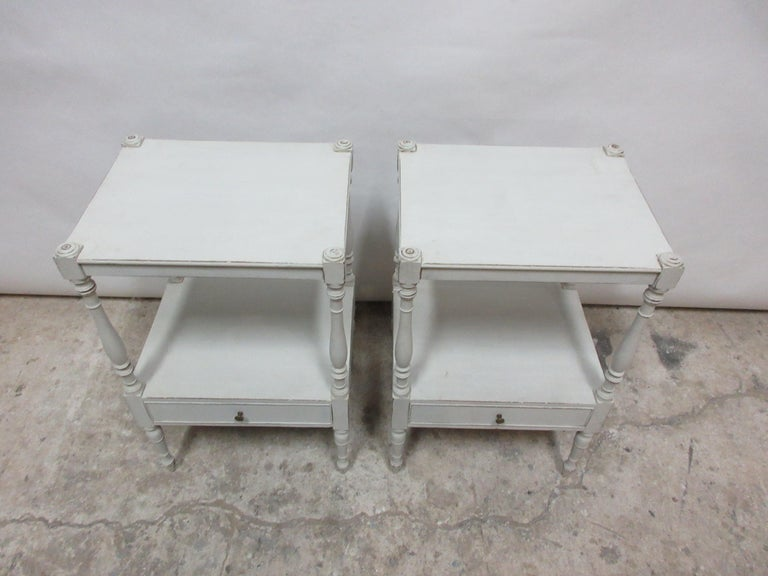 Gustavian Style Side Tables  In Distressed Condition For Sale In Hollywood, FL