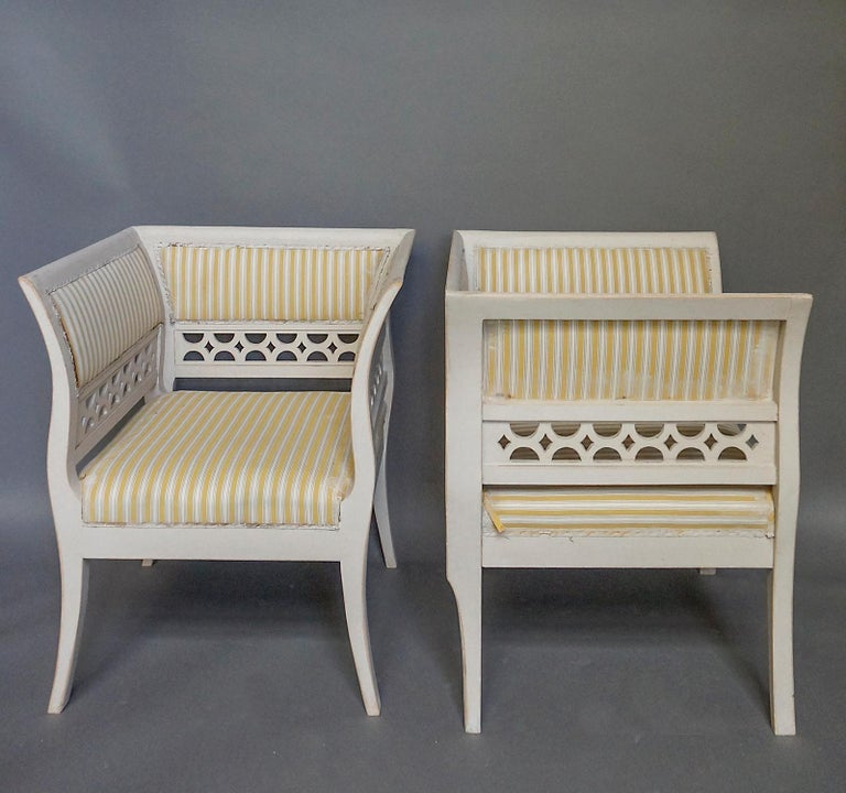 Carved Gustavian Style Swedish Armchairs in Rare Form For Sale