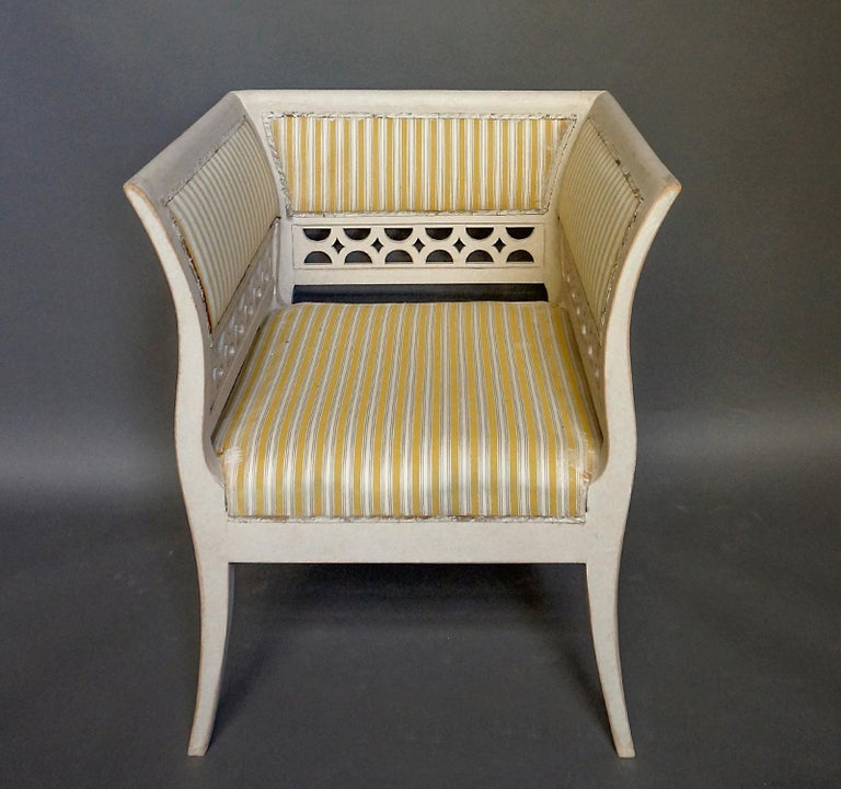 Gustavian Style Swedish Armchairs in Rare Form In Good Condition For Sale In Sheffield, MA