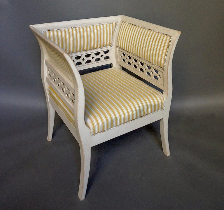 20th Century Gustavian Style Swedish Armchairs in Rare Form For Sale