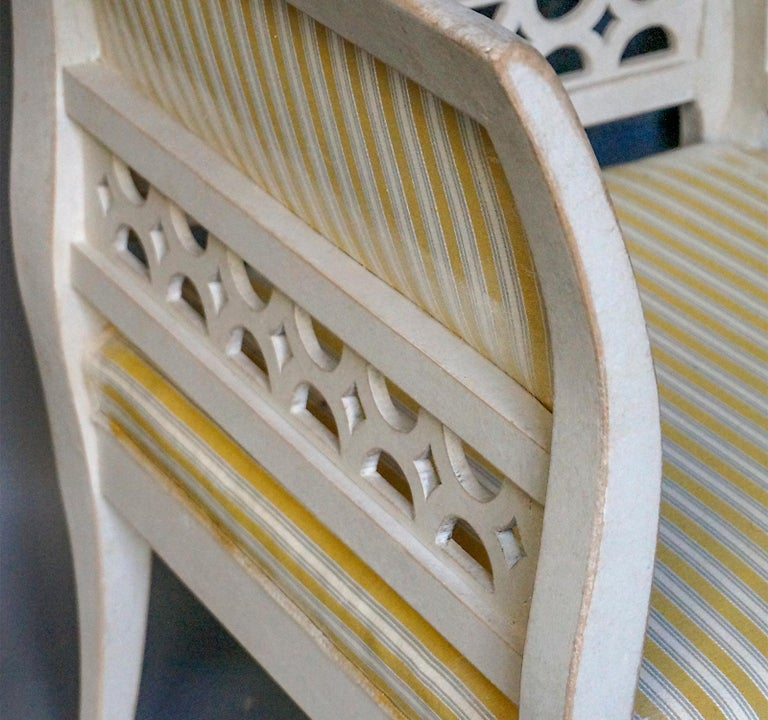 Upholstery Gustavian Style Swedish Armchairs in Rare Form For Sale