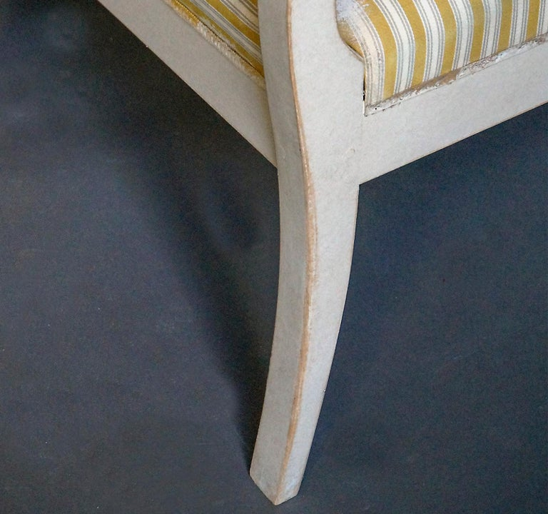Gustavian Style Swedish Armchairs in Rare Form For Sale 1