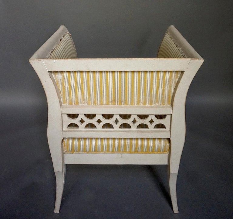Gustavian Style Swedish Armchairs in Rare Form For Sale 3