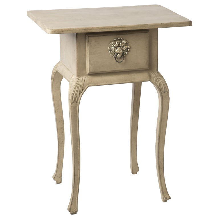 Gustavian Styled Side Table with Drawer and Curved Legs For Sale