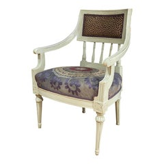 Gustavian Swedish Chair from 1850 with Antique Suzani Fabric