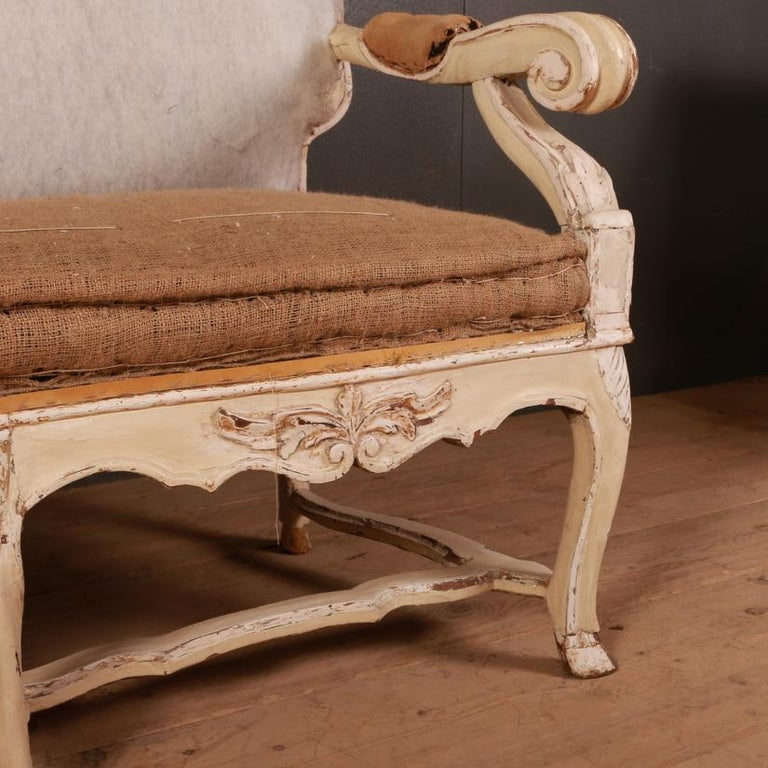 Stunning 18th century Swedish sofa with original paint, 1810.  Seat height: 20