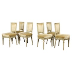 Gustavian Swedish Square Back Dining Chairs Grey Green Set of Six, 20th Century