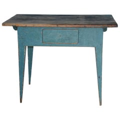 Gustavian Swedish Table with Drawer with Original Blue Paint, circa 1790