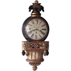 Gustavian Wall Clock Signed: Hörning / Stockholm, Origin Sweden, circa 1790