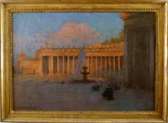 """""""Saint Peter's Square, Rome"""", 19th Century Oil on Canvas by Gustavo Bacarisas"""