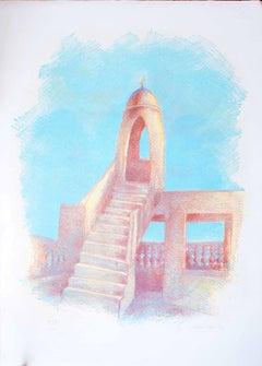 Islamic Tower - Original Lithograph by Gustavo Francalancia - 1970s