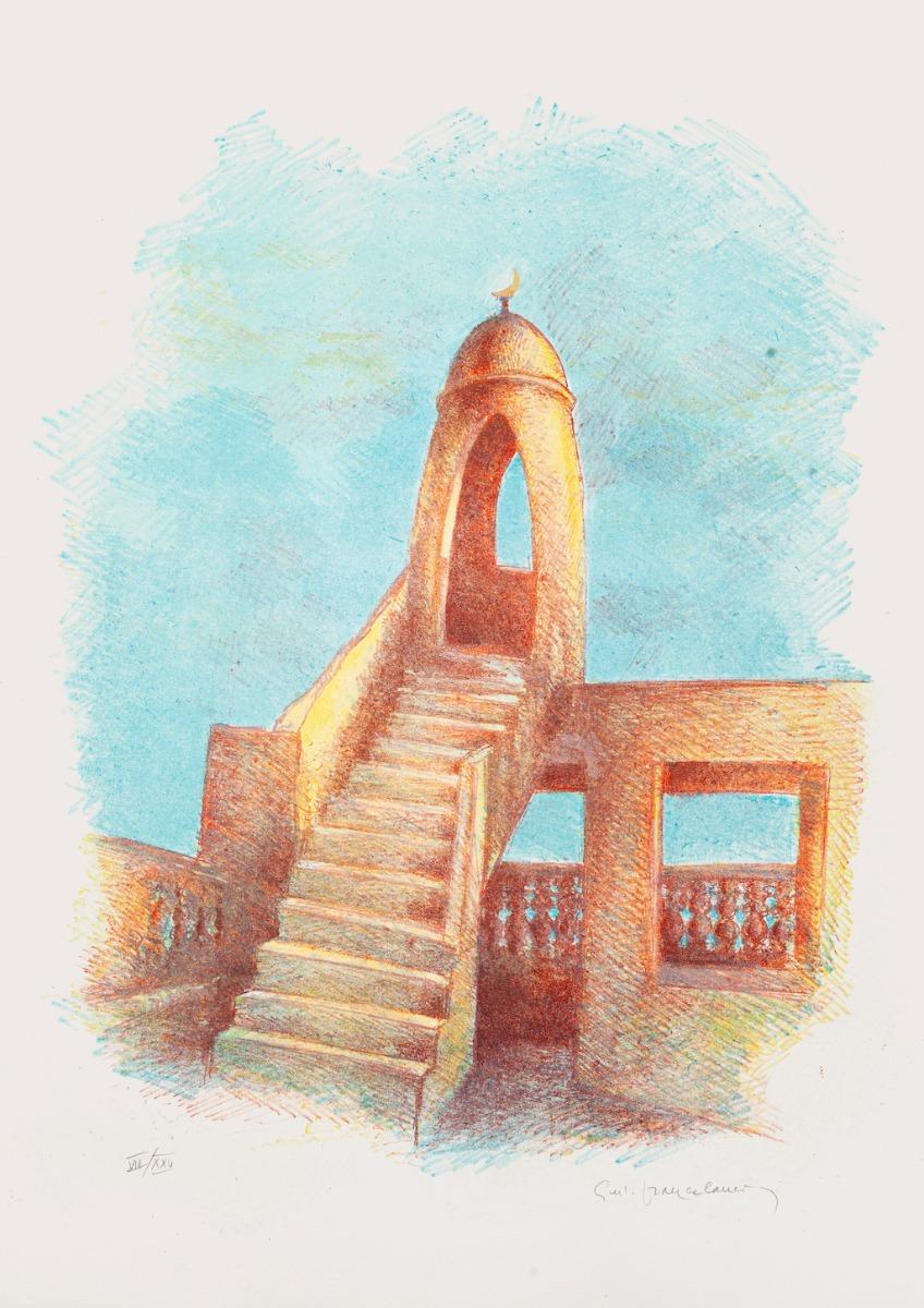 Minaret - Original Lithograph by Gustavo Francalancia - 1980