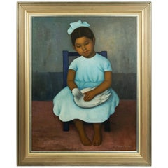 Gustavo Montoya Niña Sentada en Silla Girl and Dove Seated on Chair Oil Painting