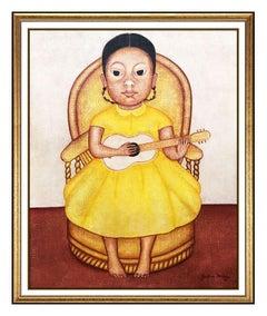 Gustavo Montoya Original Oil Painting On Canvas Signed Child Portrait Girl Art