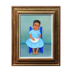"""""""Niña con Paloma"""" Portrait of a Seated Girl in a Blue Dress Holding a Dove"""