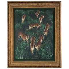 Gustavo Novoa Early 1960s Modern Naive Oil/Canvas Painting of a Group of Tigers
