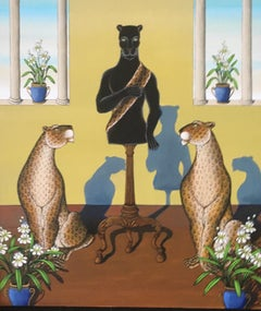 "Black Panther ""Inaugural Speach"" Tropical Jungle Painting Gustavo Novoa Politics"